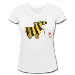 Tigerente mit Blume - Frauen T-Shirt mit V-Ausschnittaus ökologischem Anbau