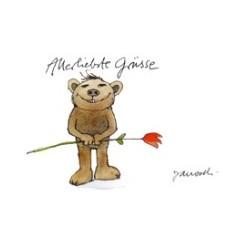 Allerliebste Grüße (Bär mit Rose) (Postkarte DIN A6)